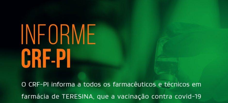 Farmacêuticos de Teresina já podem se cadastrar para receber a vacina contra Covid-19